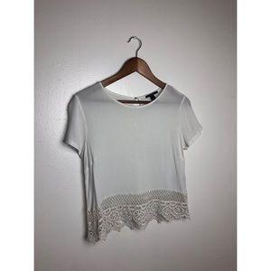 Forever 21 White Short Sleeve Top w/ Fringe Hem